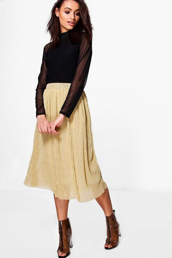 Zoe Pleated Midi Skirt