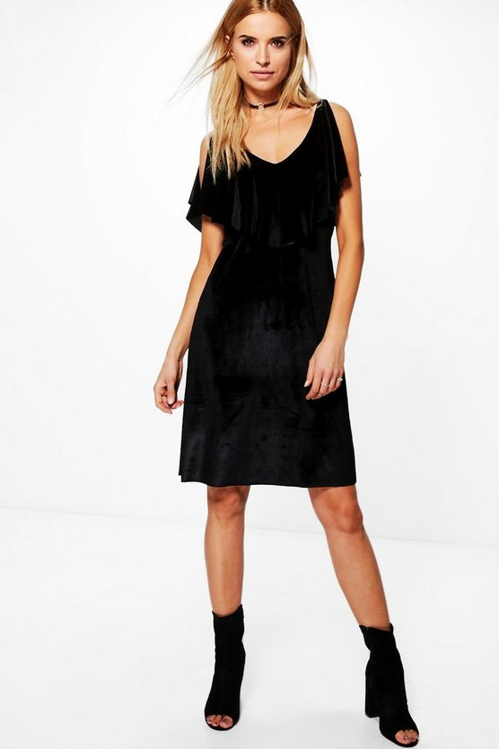 Abigail Velvet Ruffle Shoulder Dress