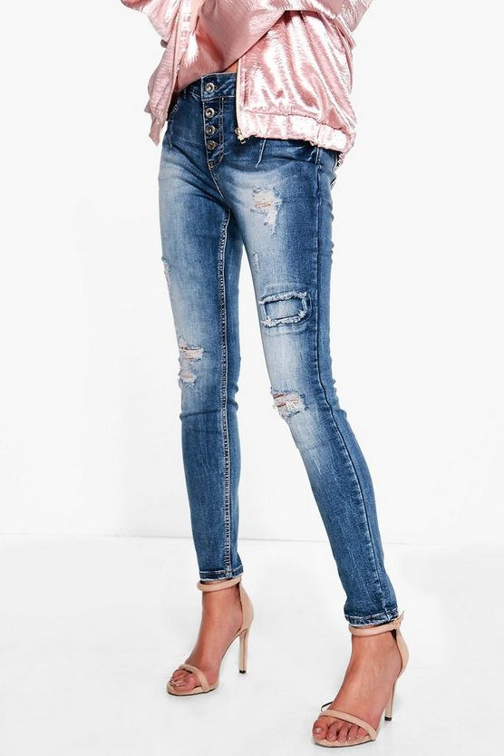 Rose Distressed Skinny Jeans