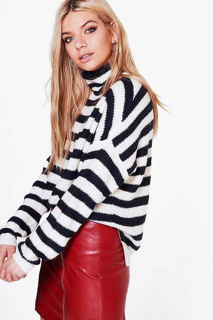 Ella Stripe Funnel Neck Jumper