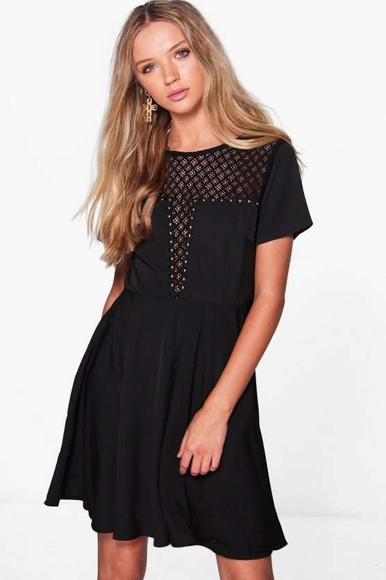 Jessica Stud Detail Skater Dress