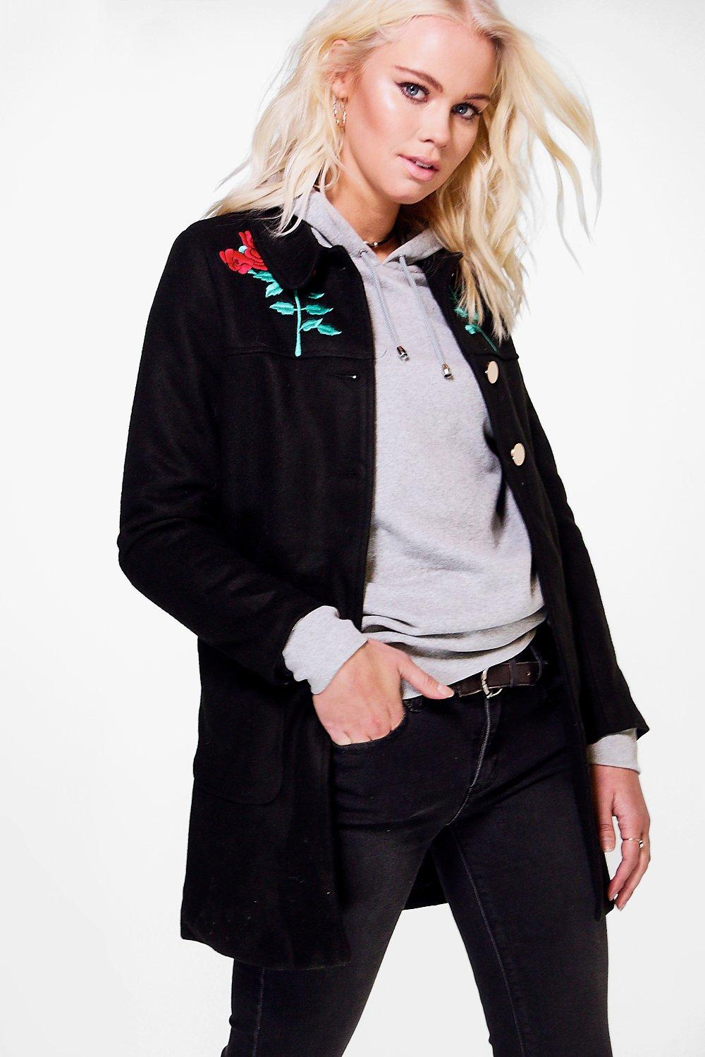 Eve Embroidered Wool Coat