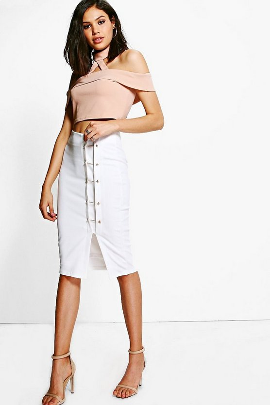 Alison Buckle Detail Midi Skirt