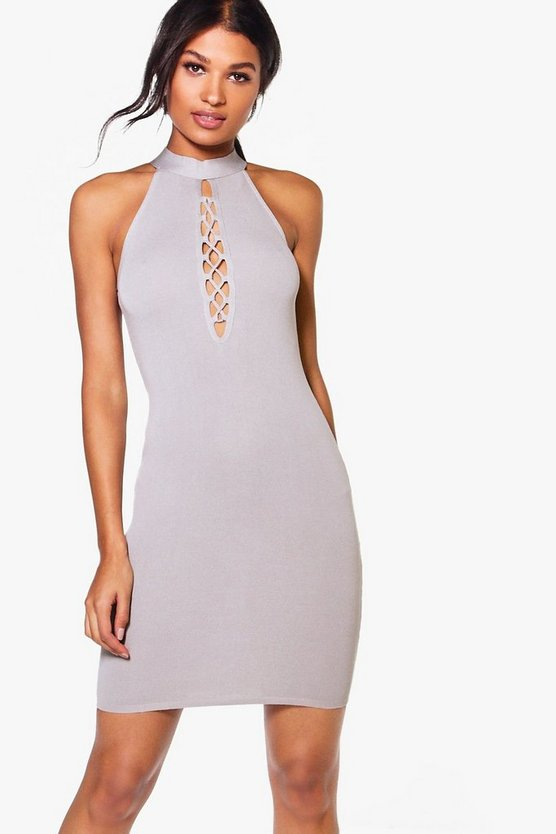 Mia Lace Up High Neck Bodycon Dress