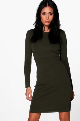 Lola Ribbed Detail Knitted Bodycon Dress