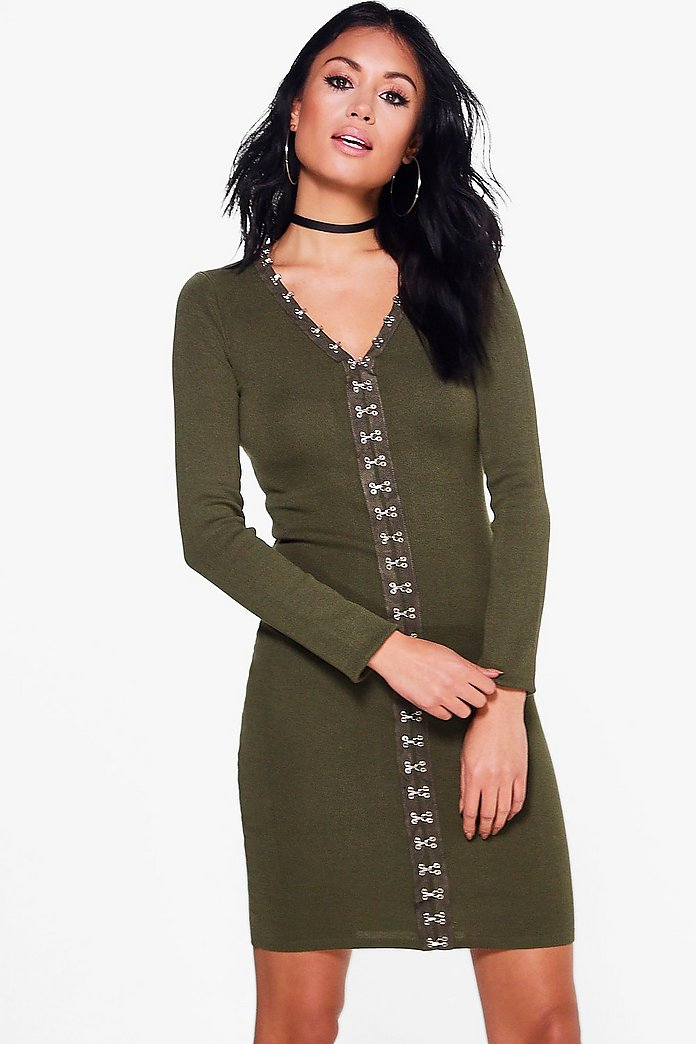 Abigail Eyelet Detail Knitted Dress