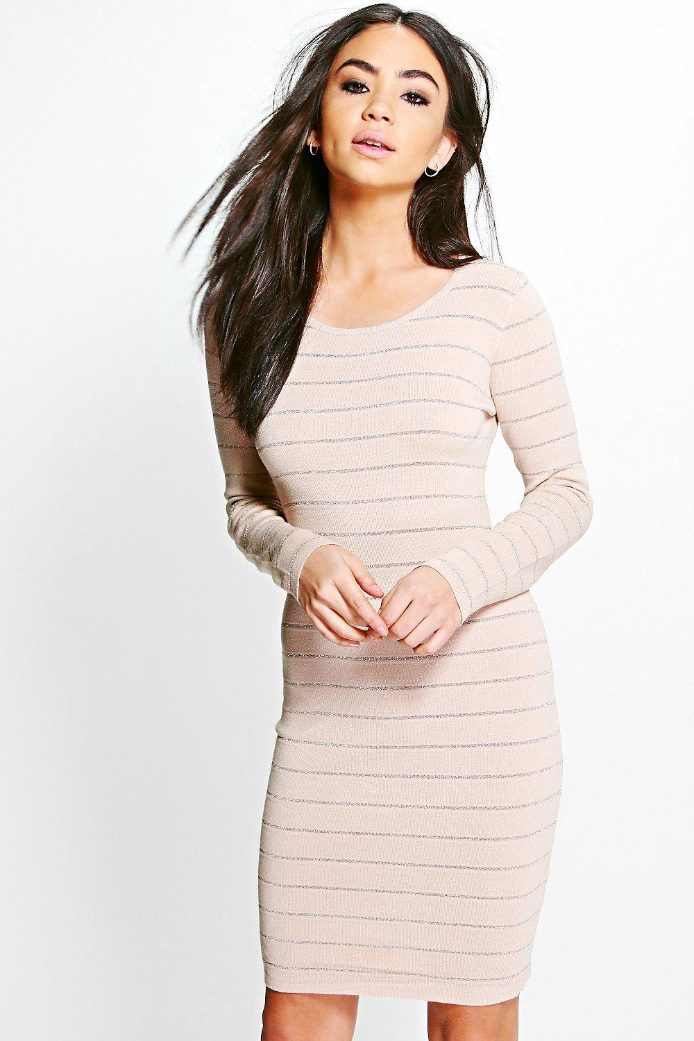 Ribbed Long Sleeve Bodycon Knit Dress  beige