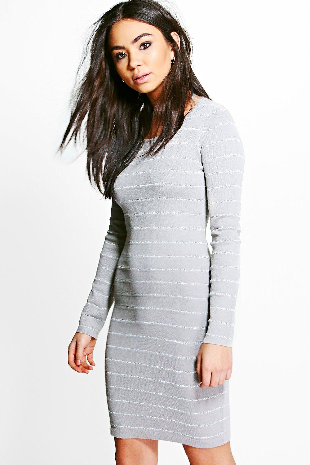 Ribbed Long Sleeve Bodycon Knit Dress  grey
