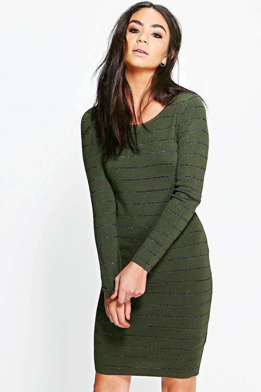 Ribbed Long Sleeve Bodycon Knit Dress  khaki