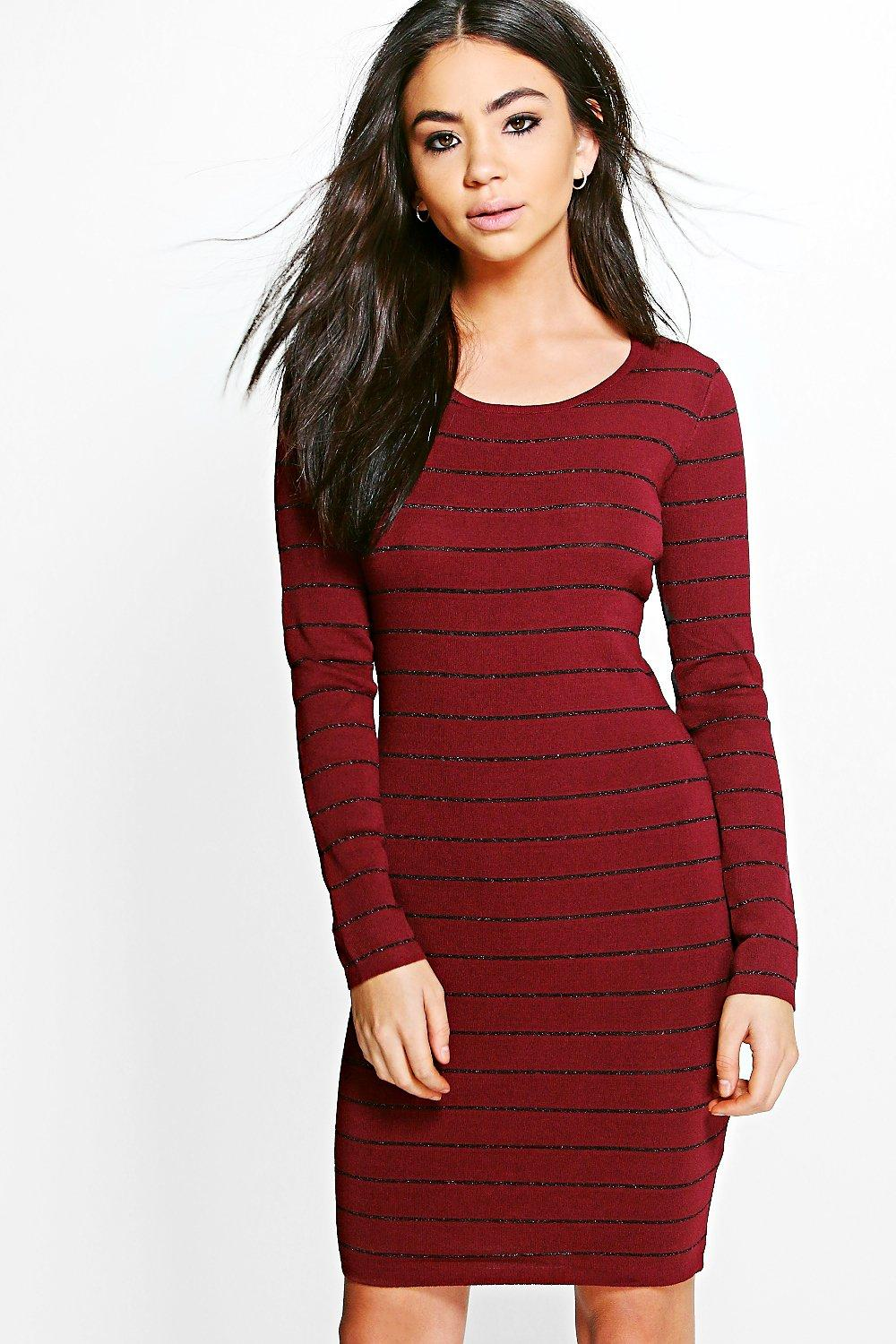 Ribbed Long Sleeve Bodycon Knit Dress  wine