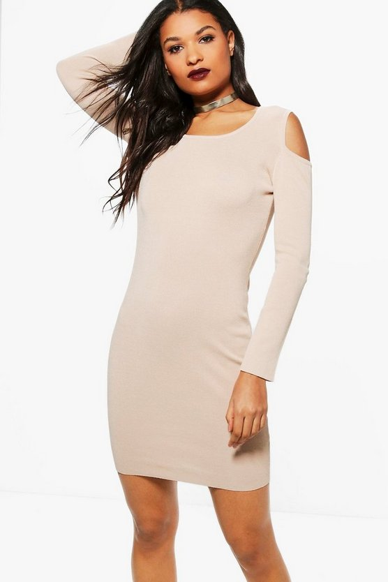 Ambrosia Cold Shoulder Ribbed Dress