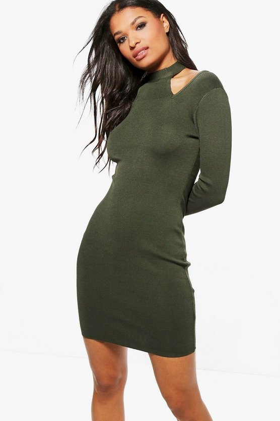 Lottie High Neck Cold Shoulder Knitted Dress