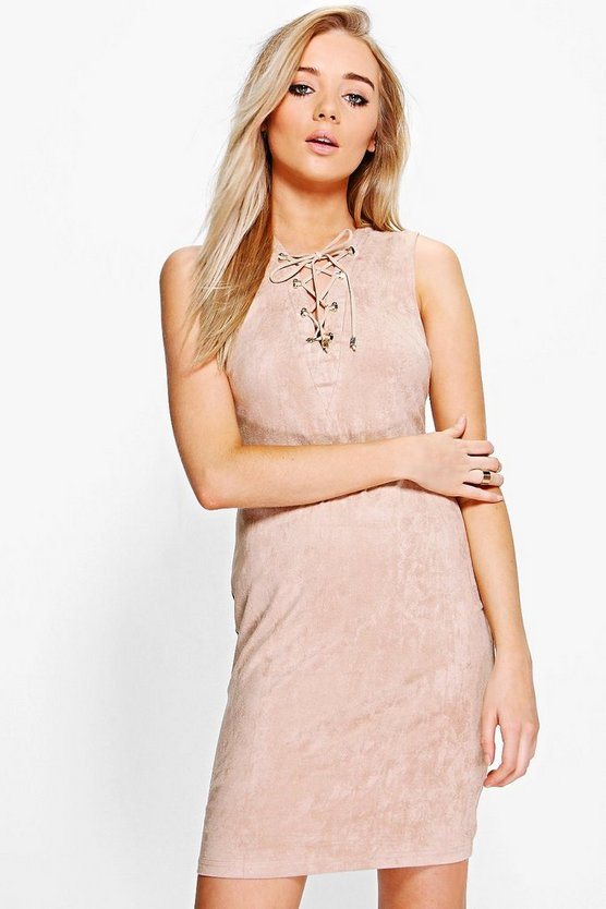 Mya Suedette Lace Up Dress