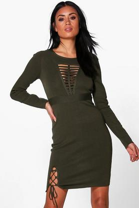 Frey Caged Detail Knitted Dress