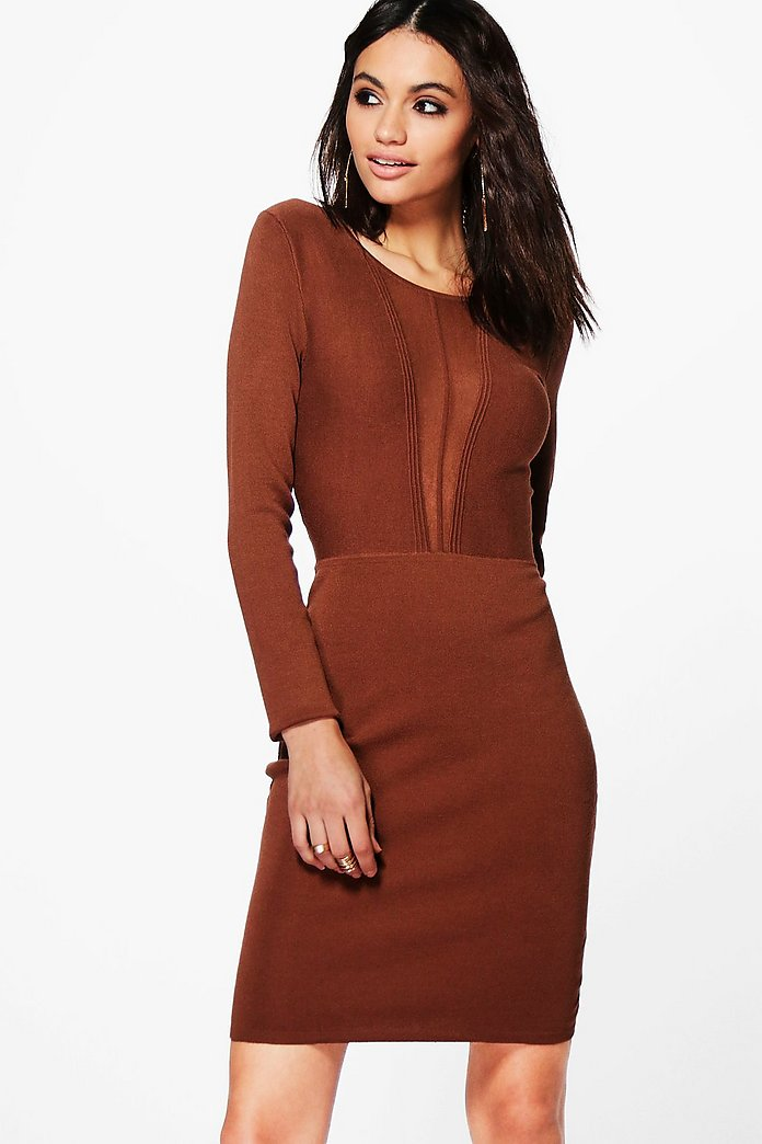Lucy Mesh Insert Bodycon Dress