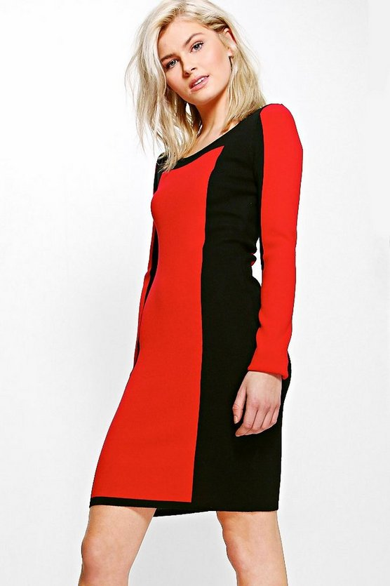 Mona Zip Back Colour Block Knitted Dress