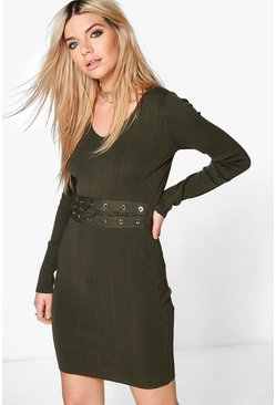 Constantina Lace Up Middle Ribbed Knit Dress
