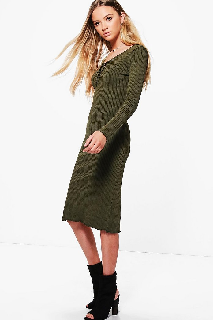 Lorena Split Hem Long Sleeve Dress