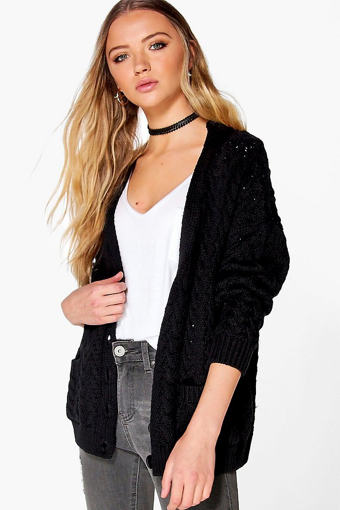 Eliza Cable Knit Chunky Cardigan