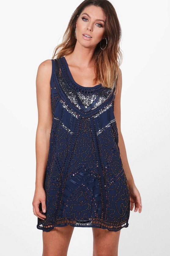 Joanne Sequin Embellished Shift Dress