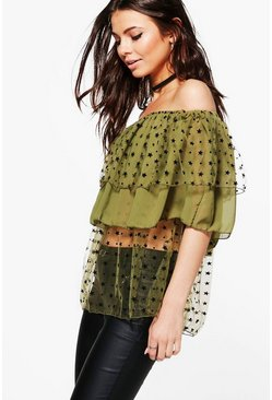 Amanda Double Layer Bardot Top