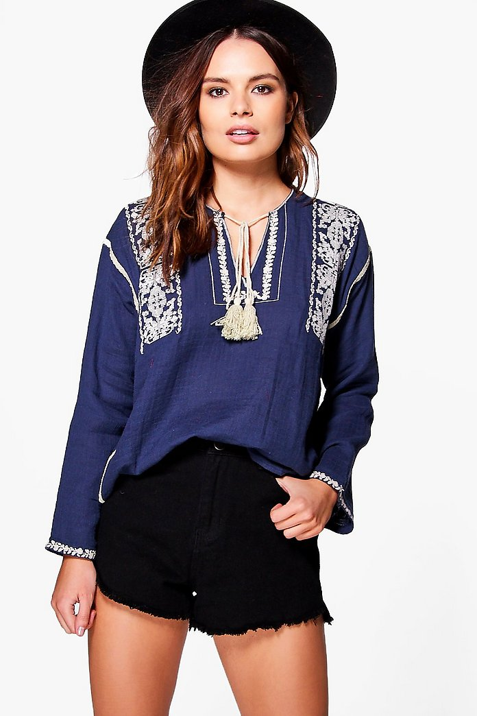 Anna Aztec Embroidered Smock Top