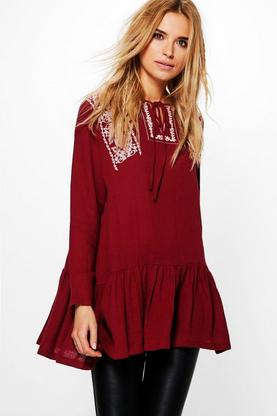Ellie Embroidered Frill Detail Smock Top