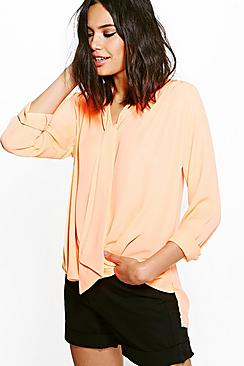 Hannah Neck Tie Wrap Over Shirt
