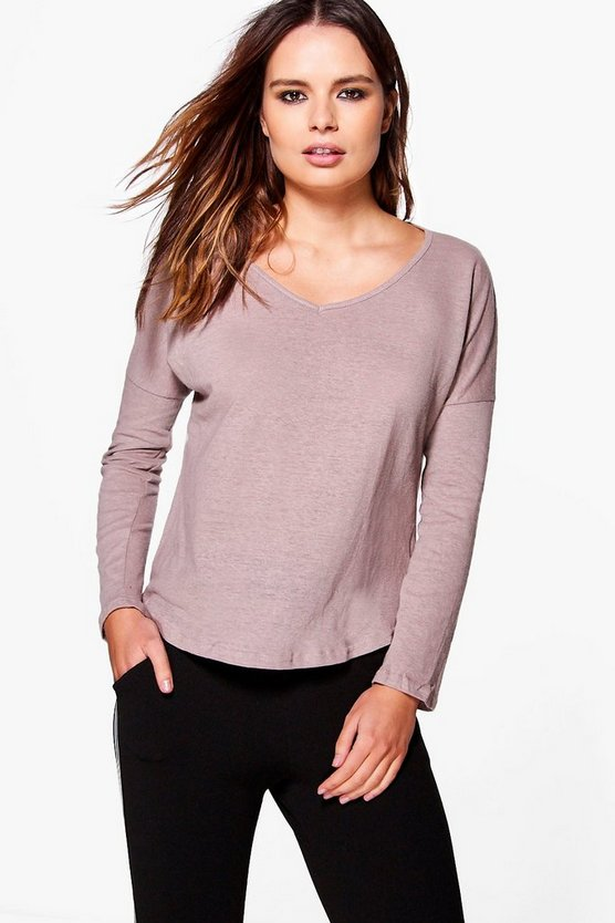 Rita Round Neck Marl Long Sleeve T-Shirt