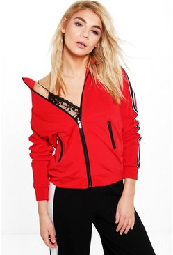 Emma Sports Zip Up Stripe Jacket