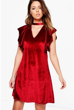 Demi Velvet Frill Front Dress