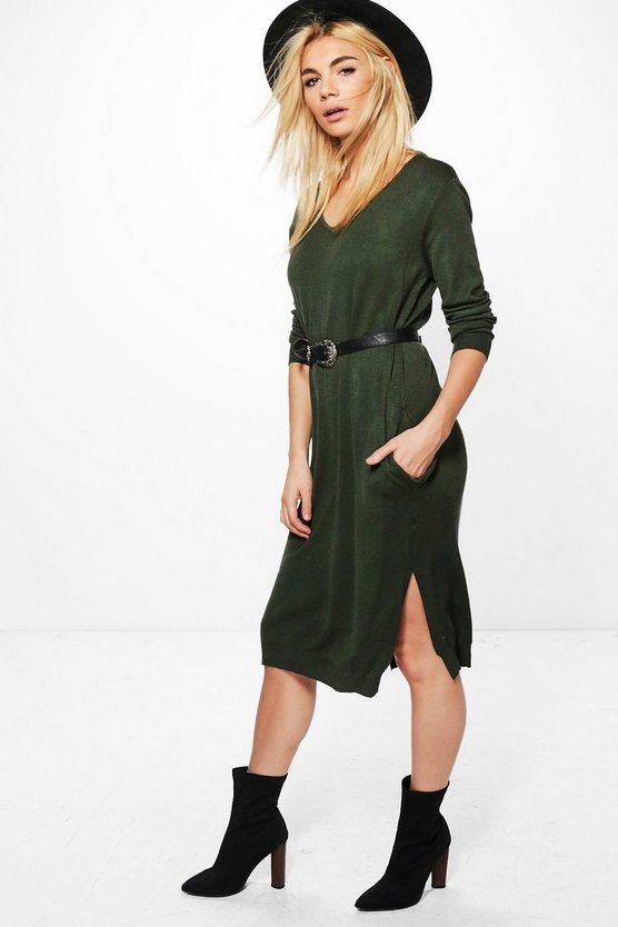 Sofia V-Neck Jumper Dress