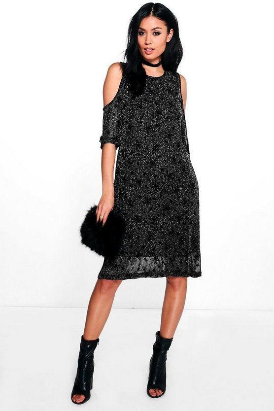 Caroline Cold Shoulder Printed Dress