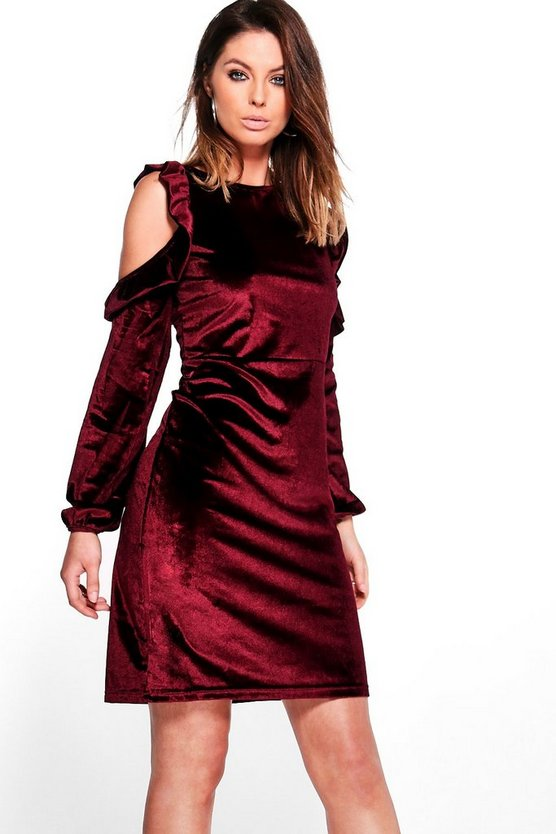 Laura Cold Shoulder Frill Velvet Dress