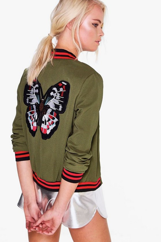 Penny Rib Detail Sporty Bomber Jacket