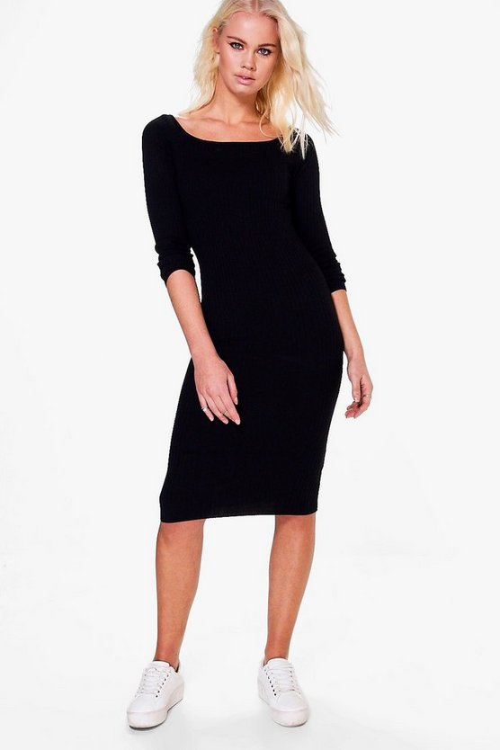 Lucy Scoop Neck Bodycon Midi Dress