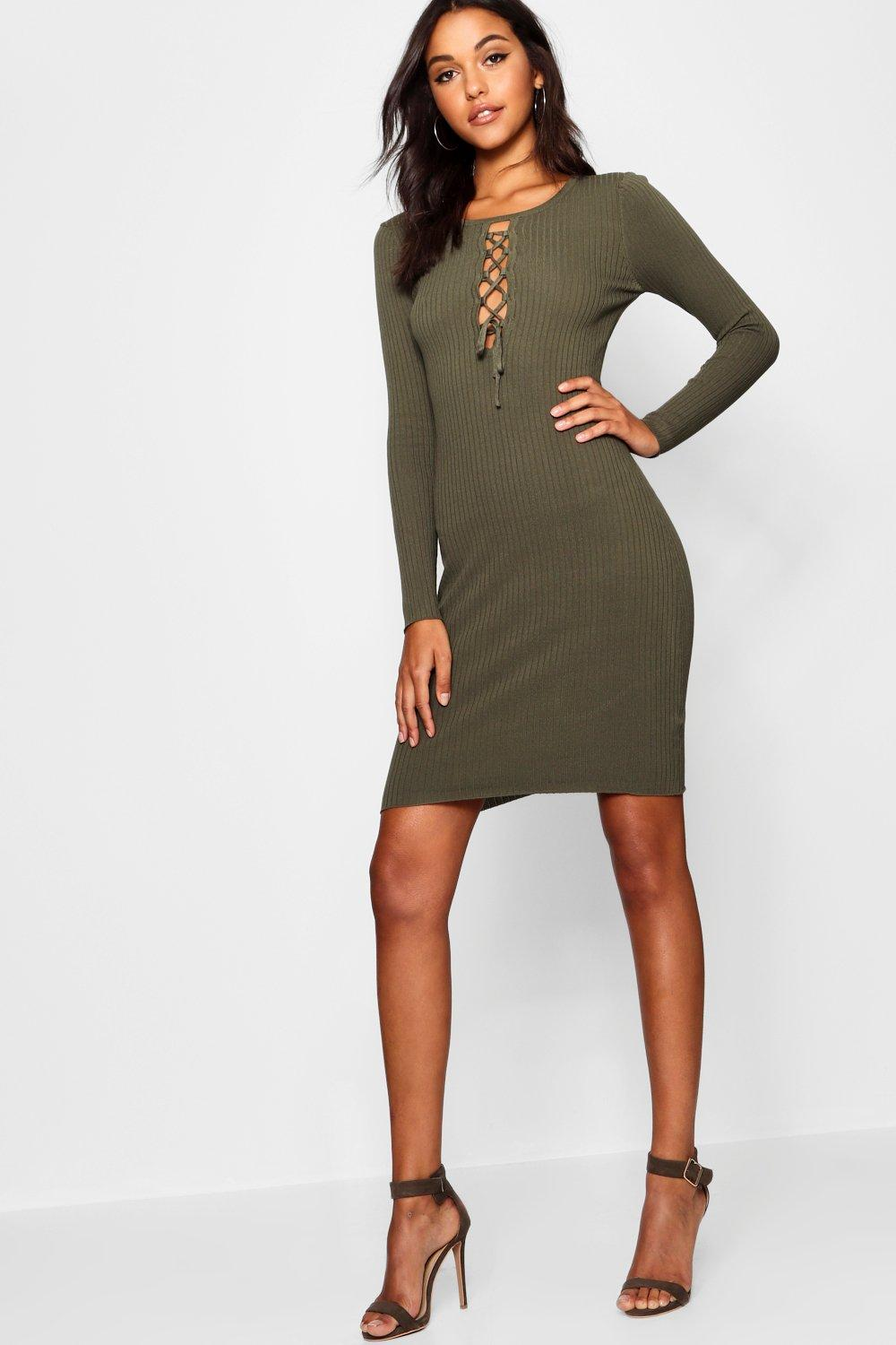 Ashleigh Lace Up Front Bodycon Dress