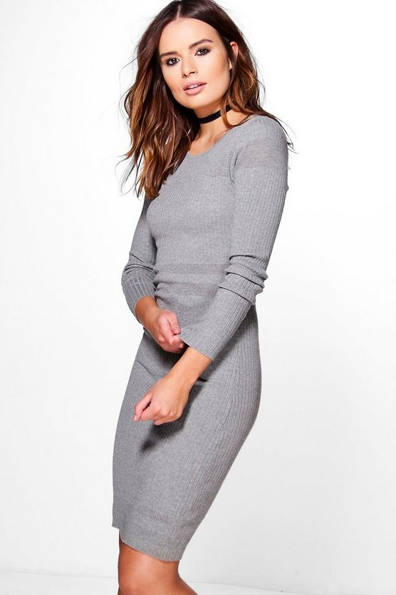 Lois Rib Detail Long Sleeve Dress