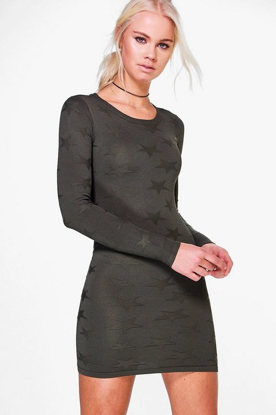 Amina Textured Pattern Long Sleeve Dress