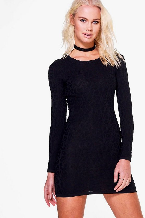 Jessica Crinkle Textured Long Sleeve Dress