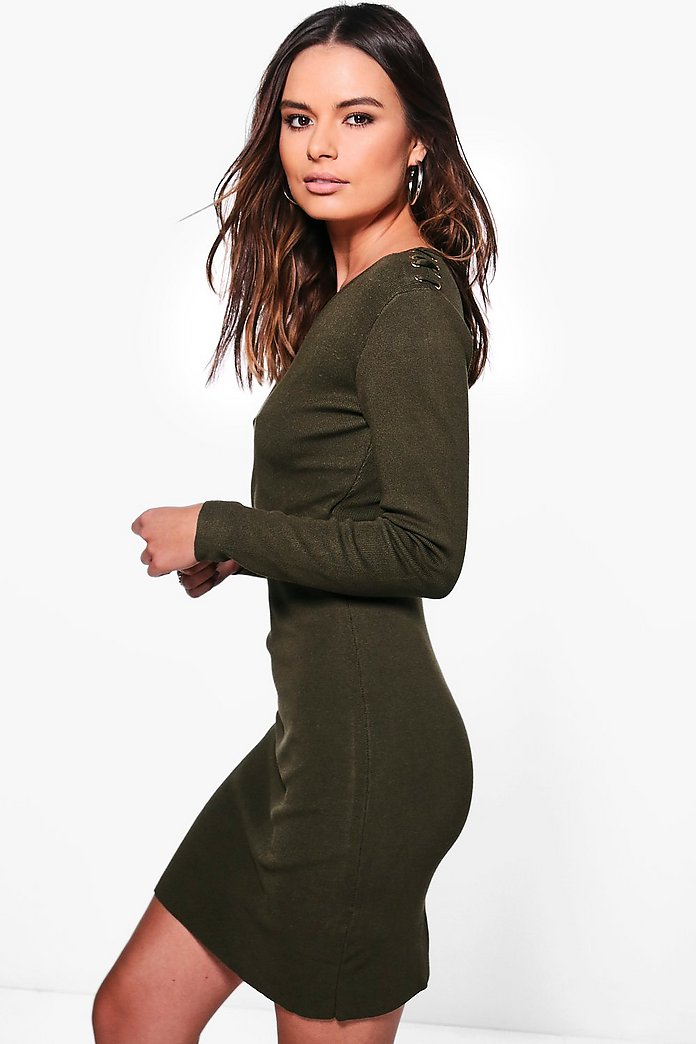 Harriet Wrap Front Shoulder Studded Dress