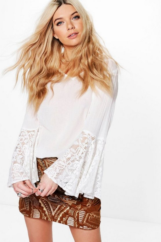 Evie Lace Fluted Sleeve Cotton Top
