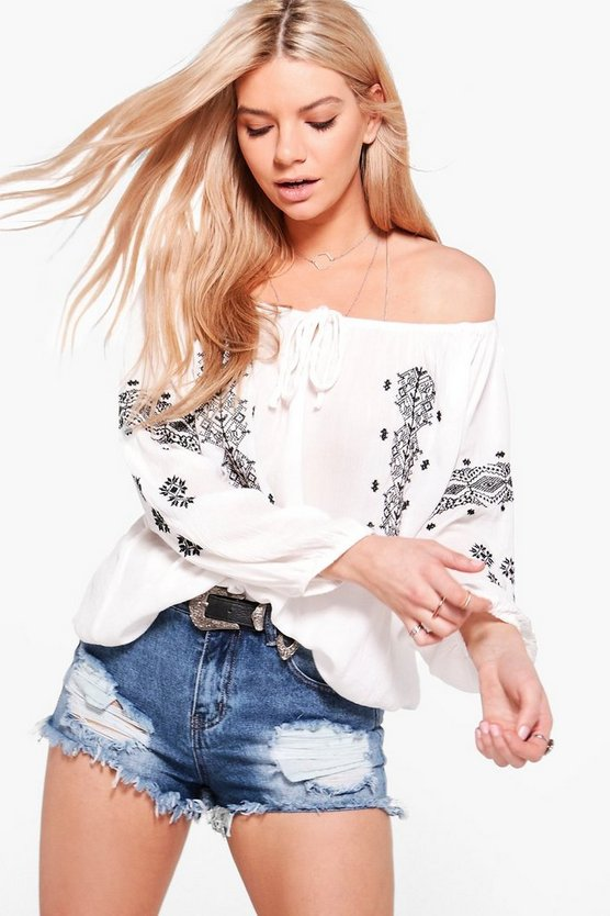Emily Embroidered Off Shoulder Top