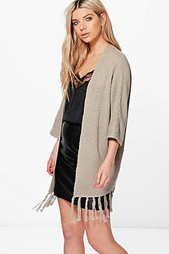 Emma Wide Sleeve Fringed Cardigan