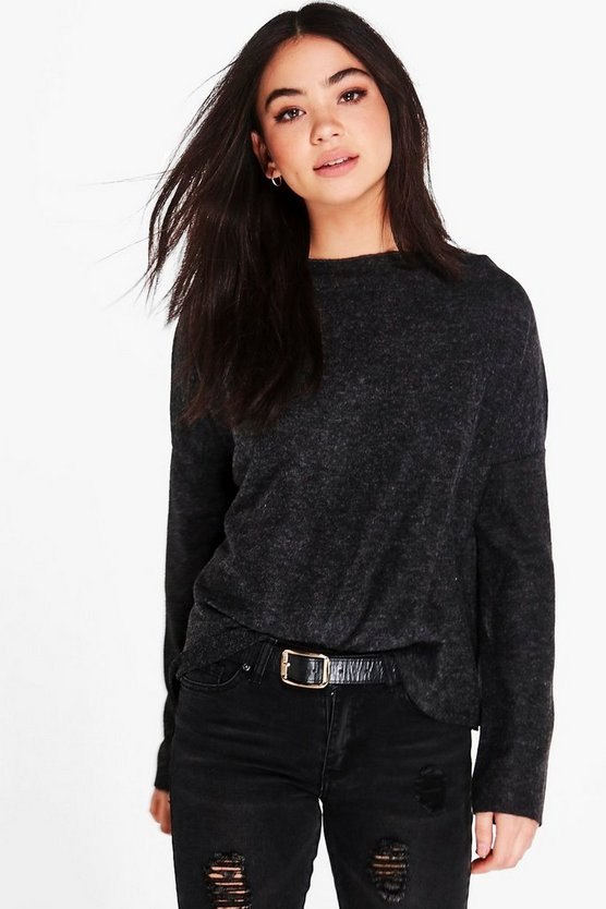 Sophie Slash Neck Marl Jumper