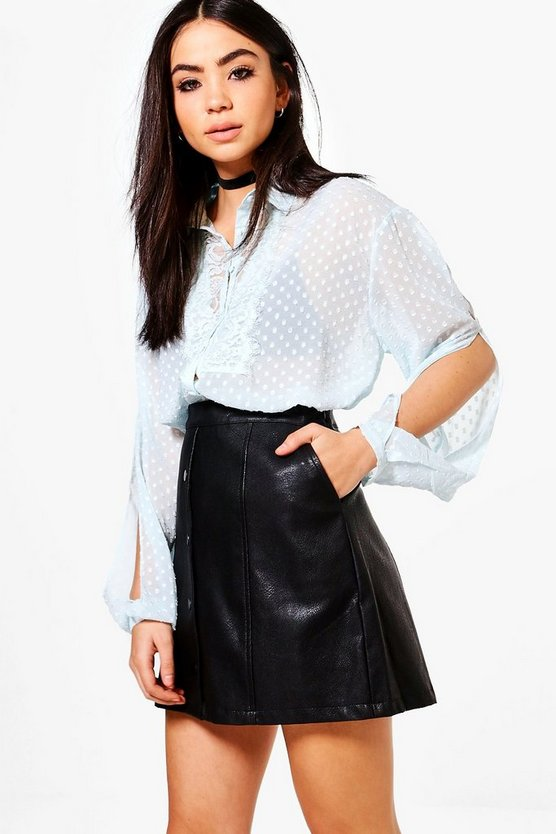 Alexandra Sheer Lace Trim Blouse