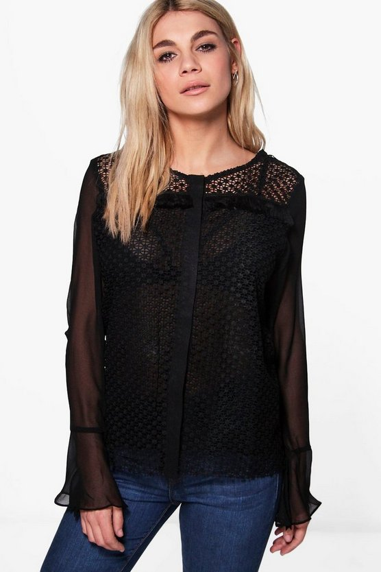 Zoey Crochet Flare Sleeve Blouse
