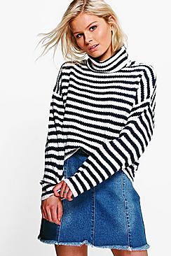 Emily Stripe Cowl Neck Jumper
