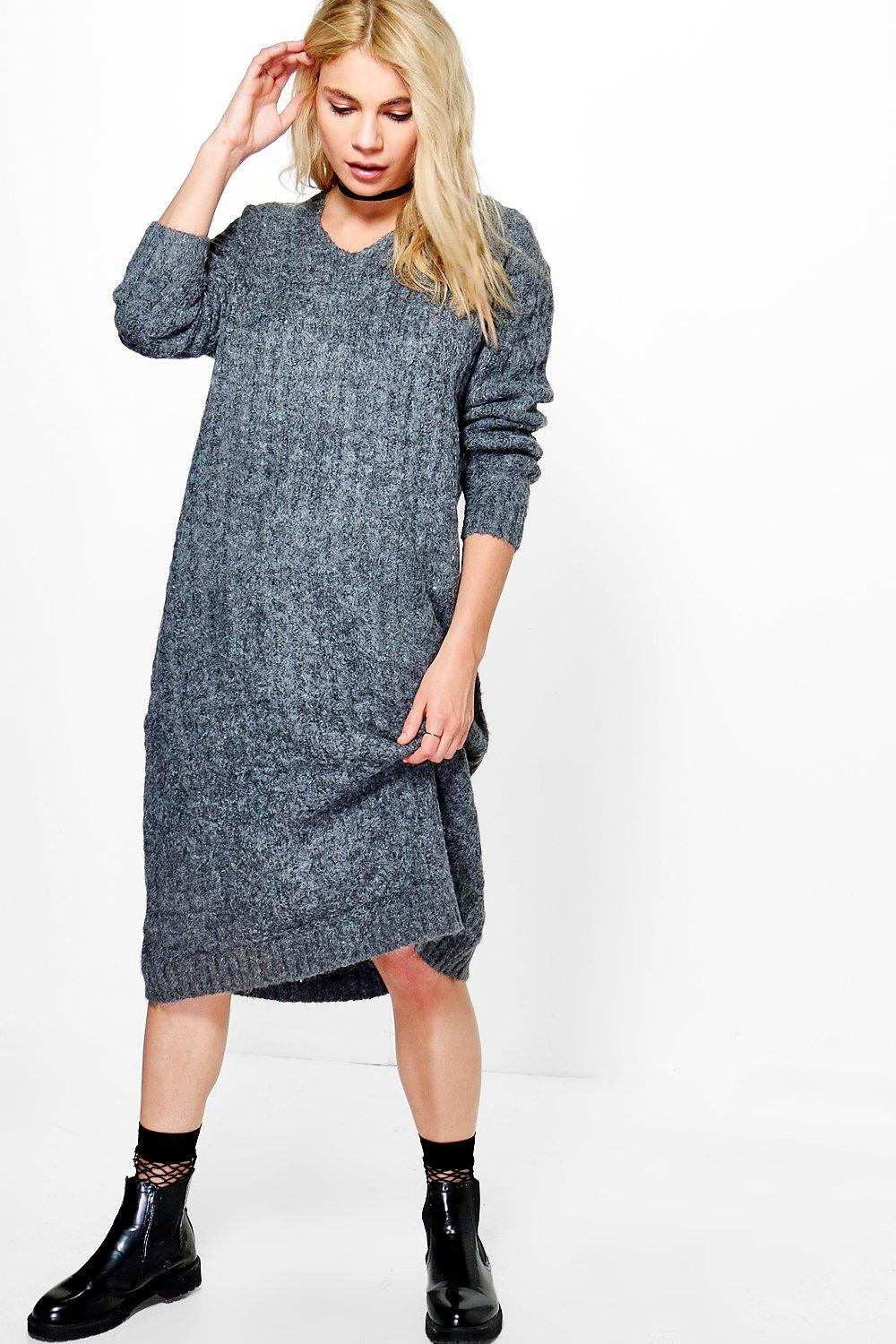Hooded Knitted Dress  charcoal