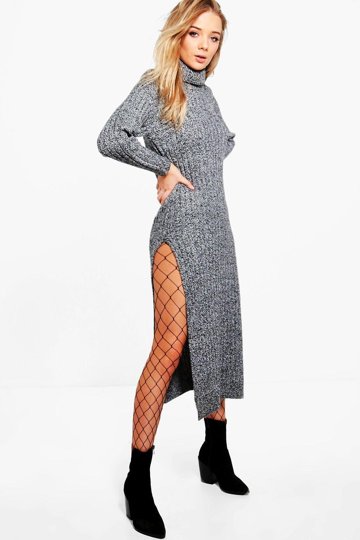 Rib Knit Maxi Dress  charcoal